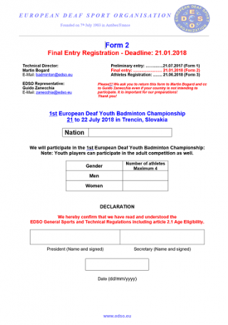 Download Form 2 - Youth Final Entry Registration