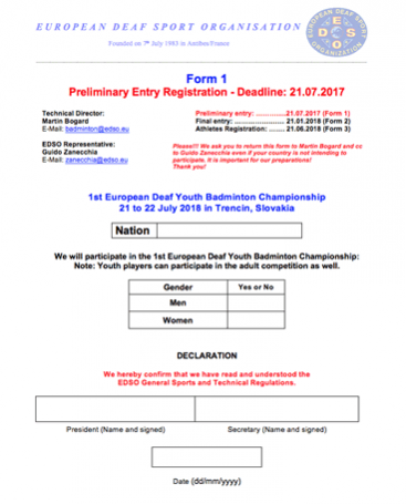 Download Form 1 - Youth Preliminary Entry Registration