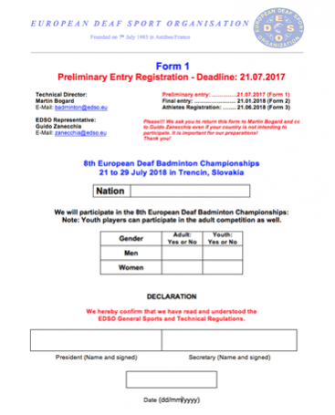 Download Form 1 - Preliminary Entry Registration