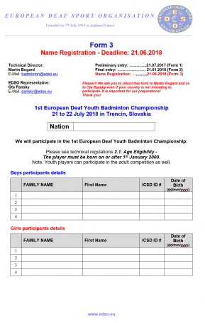 Form 3 - Name Registration - Youth